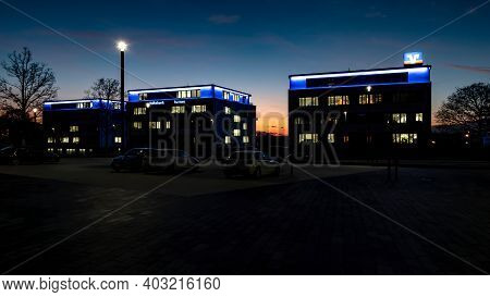 Wetzlar, Germany-2020-08-27: Volksbank Mittelhessen Eg Buildings At Night. Volksbank Mittelhessen Is