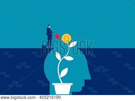Businessman Water The Plants Money Think For Growth Mindset Concept