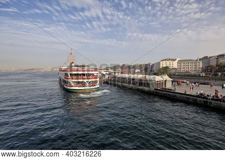 Istanbul, Turkey - October 06, 2020. Cruise Ship On The Golden Horn, As Seen From The Galata Bridge.