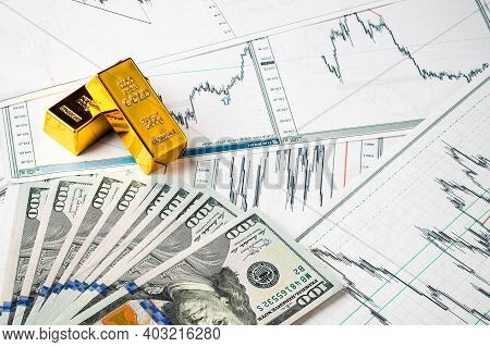 Gold Bars At Dollar Bills, Rise And Fall Of Gold Exchange Rate Against Dollar Financial Concept Diag