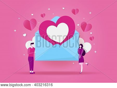 Love Concept, Valentines Day Pink Background. Wallpaper. Happy Valentines Day Card With Hearts Paper