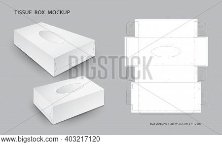 Tissue Box Mock Up With Outline Box Package, 3d Box,  Box Die Cut Template, Can Be Use Place Your Te