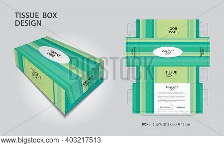 Tissue Box Design Green Line Graphic Concept, Box Mock Up, 3d Box, Can Be Use Place Your Text And Lo
