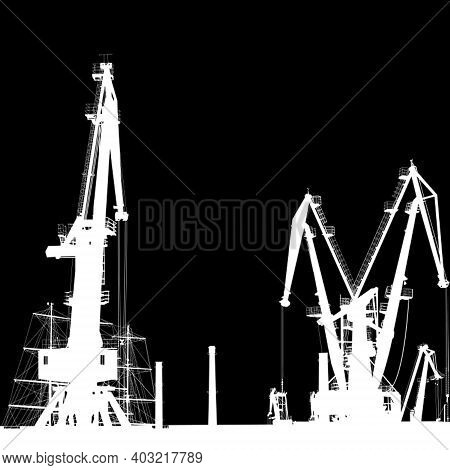 Seaport Silhouette Of Port Cranes. Eps10 Vector.