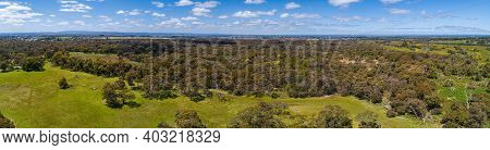 Wide Narrow Banner Aerial Panorama Of Australian Green Countryside On Bright Sunny Day