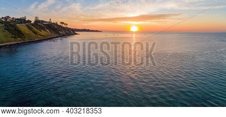 Magnificent Aerial Panorama Of Sunset Over Bay Waters In Melbourne, Australia