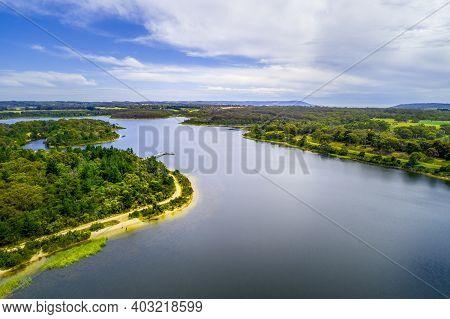 Aerial Landscape Of Devilbend Reservoir Lake And Forest
