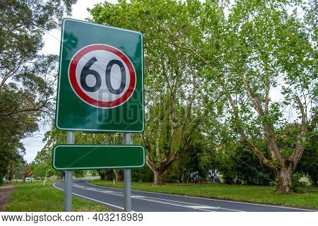 Closeup View Of Speed Limit Of 60kph Road Sign
