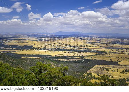Scenic View Of Beautiful Australian Outback With Windfarm On Yellow Hills