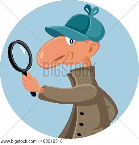 Funny Detective Looking Through A Magnifying Glass