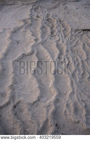 Detail Of Deposits On Dried Geyser Bed In Yellowstone