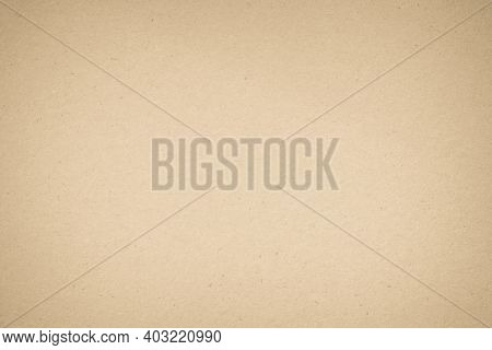 Brown Recycled Paper Crumpled Texture Background. Cream Old Vintage Page Or Grunge Vignette Parchmen