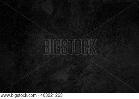 Close Up Retro Plain Dark Black Cement & Concrete Wall Background Texture For Show Or Advertise Or P