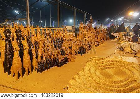 Kolkata, West Bengal, India - 31st December 2018 : Horses, Famous Terracotta Animal Dolls, Made In B