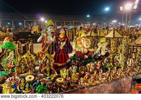 Kolkata, West Bengal, India - 31st December 2018 : Lord Krishna Playing Flute And Radha Standing, Te