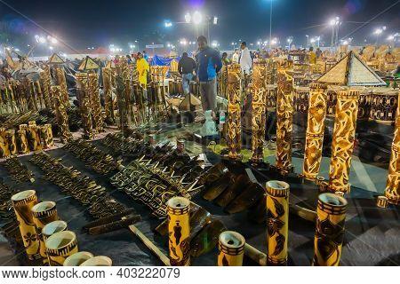 Kolkata, West Bengal, India - 31st December 2018 : Cane Flower Vases And Other Furnitures, Sofas Mad