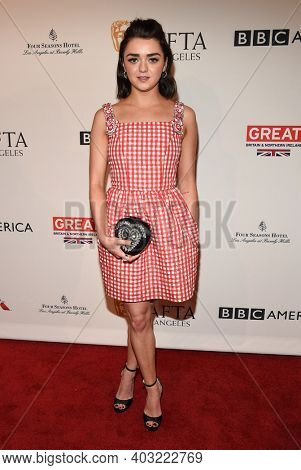 LOS ANGELES - JAN 7:  Maisie Williams arrives for  BAFTA Los Angeles Tea Party 2017 on January 07, 2017 in Beverly Hills, CA