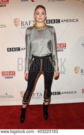 LOS ANGELES - JAN 7:  Sophie Turner arrives for  BAFTA Los Angeles Tea Party 2017 on January 07, 2017 in Beverly Hills, CA
