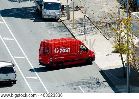 Perth, Australia - September 24, 2020: Delivery Truck Of Australia Post In The City