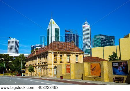 Perth, Australia - March 2, 2020: Perth City On Beaufort Street