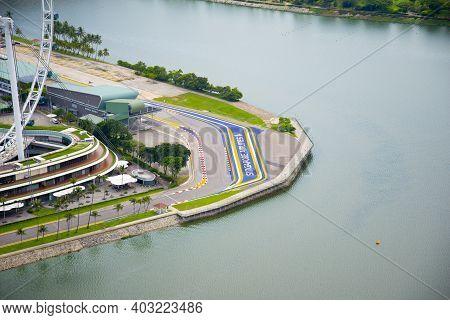 Singapore City, Singapore - April 12, 2019: Singapore Grand Prix F1 Track