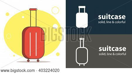 Suitcase Isolated Vector Flat Icon With Suitcase Luggage Solid, Line Icons