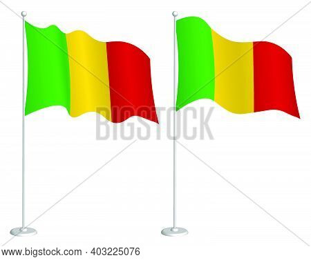 Flag Of Mali On Flagpole Waving In Wind. Holiday Design Element. Checkpoint For Map Symbols. Isolate