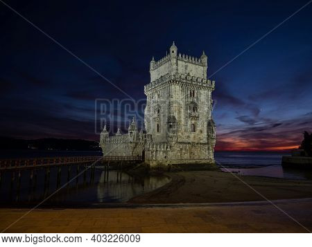 Panorama Sunset View Of Medieval Historic Defense Fortification Bastion Torre Belem Tower In Tagus R