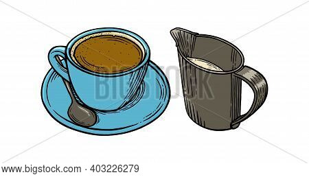 Coffee Cup And Creamer Engraved Set. Cup Of Americano With Additional Milk. Sketch Vector Illustrati
