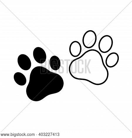 dog and cat paw print vector icon. Paw of an animal, canine footprints.Traces of dog paws, dog paws.