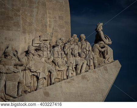 Closeup View Of Historic Padrao Dos Descobrimentos Monument Of The Discoveries In Tagus Tejo River B