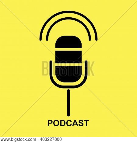Microphone Podcast Yellow Background In Modern Style. Modern Technology Concept. Stock Image. Eps 10