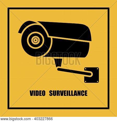 Camera Icon. Contemporary Cctv Camera, Great Design For Any Purposes. Contemporary Yellow Icon. Stoc