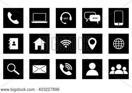 Communication Icons On Black Background. Communication Icons For Web Design. Stock Image. Eps 10.