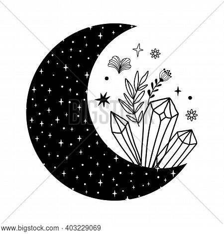 Floral Moon With Crystals Logo. Beauty Black Moon Tattoo. Celestial Crescent Isolated. Hand Drawing