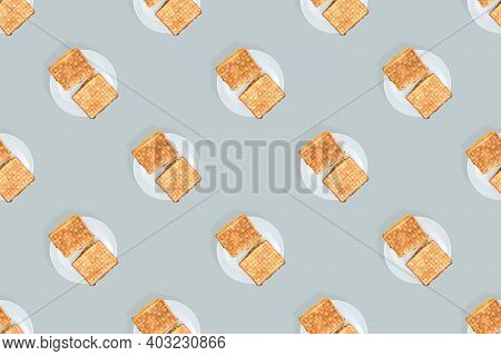 Waffles Seamless Pattern. Appetizing Waffles On A White Plate.
