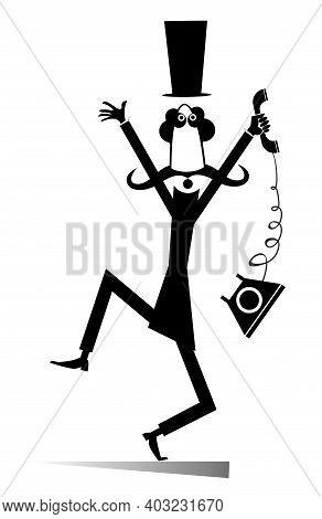 Mustache Man In The Top Hat Is In Panic Illustration. Upset Long Mustache Gentleman In The Top Hat W