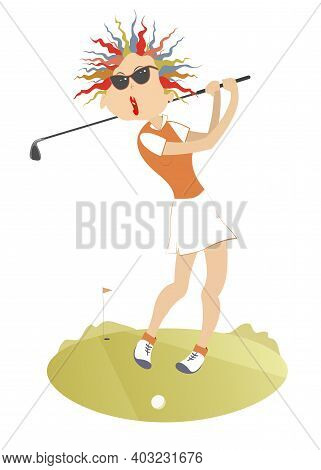 Young Golfer Woman On The Golf Course Illustration. Young Golfer Woman In Sunglasses Tries To Do A G