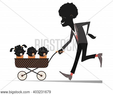African Man With Infants In The Stroller Illustration. Smiling Young African Man Rolls A Stroller Wi
