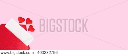 Banner Red Open Envelope With A Sheet Of Paper With A Hearts On A Pink Background With Mock-up. Vale