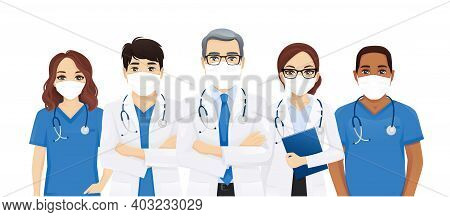 Multiethnic Doctor Team Group With Leader Wearing Protective Medical Mask Isolated Vector Illustrati