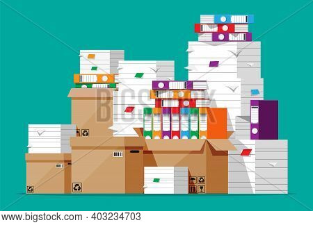 Pile Of File Folders, Cardboard Boxes And Paper Documents. Paperwork Or Bureaucracy Concept. Unorgan