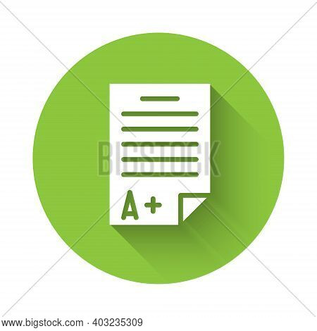 White Exam Sheet With A Plus Grade Icon Isolated With Long Shadow. Test Paper, Exam, Or Survey Conce