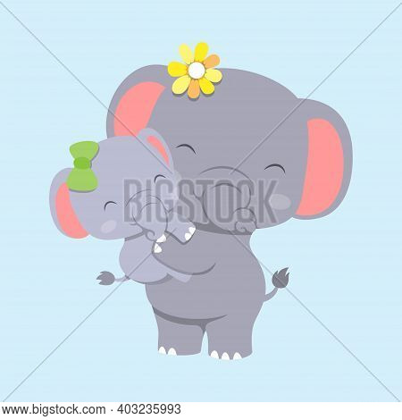 The Elephant With Baby Elephant Is Using The Hairclip And Playing Together