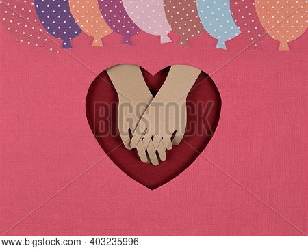 Valentines Day Card. Creative Paper Cut Background With Bright Paper Balloons And Look Of The Lovers