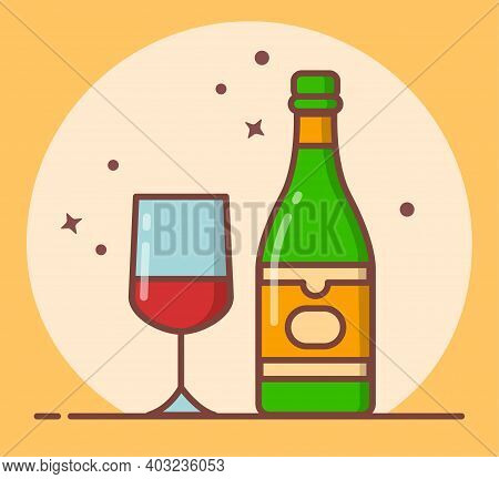 Red Wine Icon Bottle, Wine Glass, Poster, Bar, Menu, Wine Party, Postcard, Invitation