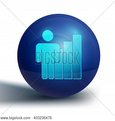 Blue Productive Human Icon Isolated On White Background. Idea Work, Success, Productivity, Vision An