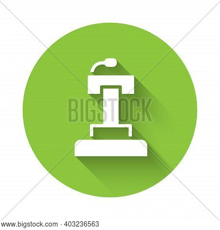 White Stage Stand Or Debate Podium Rostrum Icon Isolated With Long Shadow. Conference Speech Tribune