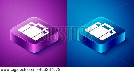Isometric Police Assault Shield Icon Isolated On Blue And Purple Background. Square Button. Vector