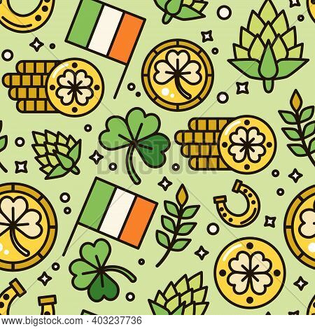 Saint Patrick's Day Pattern. Gift Card, Design For Celebrities With Gold, Irish Flag And Clover. Hol